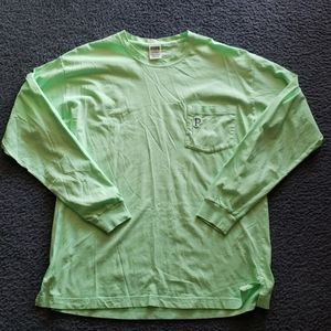 Vs pink neon green long sleeve campus tee L